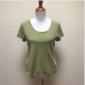 Eileen Fisher Green Stretch Short Sleeve Sweater